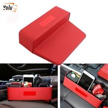 YOLU Car Seat Crevice Storage Box PU Leather Leak-Proof Red/Black Side Gap Pocket