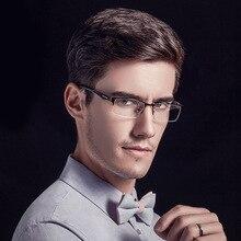 Half Frame Metal  Myopia Optical Glasses Men Business Fashion