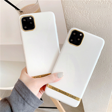 Pure White Marble Print Phone Case For iphone 11 Pro XS MAX XR X 6 7 8 Plus Artistic agate marble gold bar Soft TPU Cover