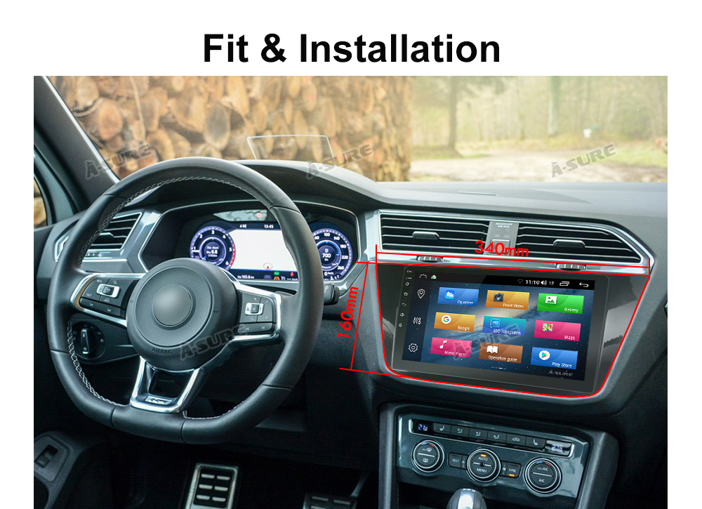 Android 8.1 10 Zoll 8 core VW Tiguan GPS DAB + 4G DSP WIFI IPS BT 60