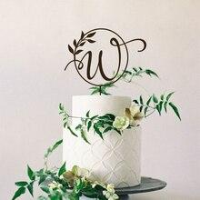 На Заказ Свадебный торт Топпер с Mr And Mrs имя инициалы дерево монограмма вечерние декор для дня рождения помолвка свадебное украшение в деревенском стиле