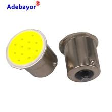 Bombilla LED para intermitente de coche, luz Interior, luces de giro traseras, 12 chips, P21W 1156 BA15S P21W, COB