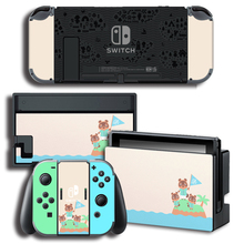 3Pcs/1Set Vinyl Screen Skin Animal Crossing Protector Stickers for Nintendo Switch NS Console + Controller + Stand Holder Skins vinyl screen skin sticker laurel dog skins protector stickers for nintendo switch ns console controller stand sticker
