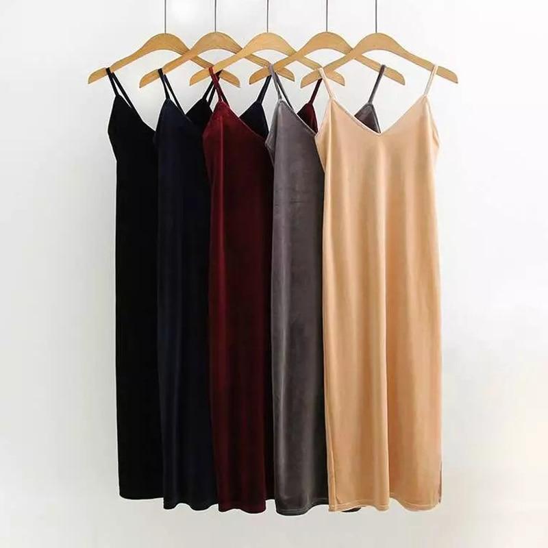 Velvet Slip V haljine za žene špagete Strap seksi jednodijelni - Ženska odjeća - Foto 2