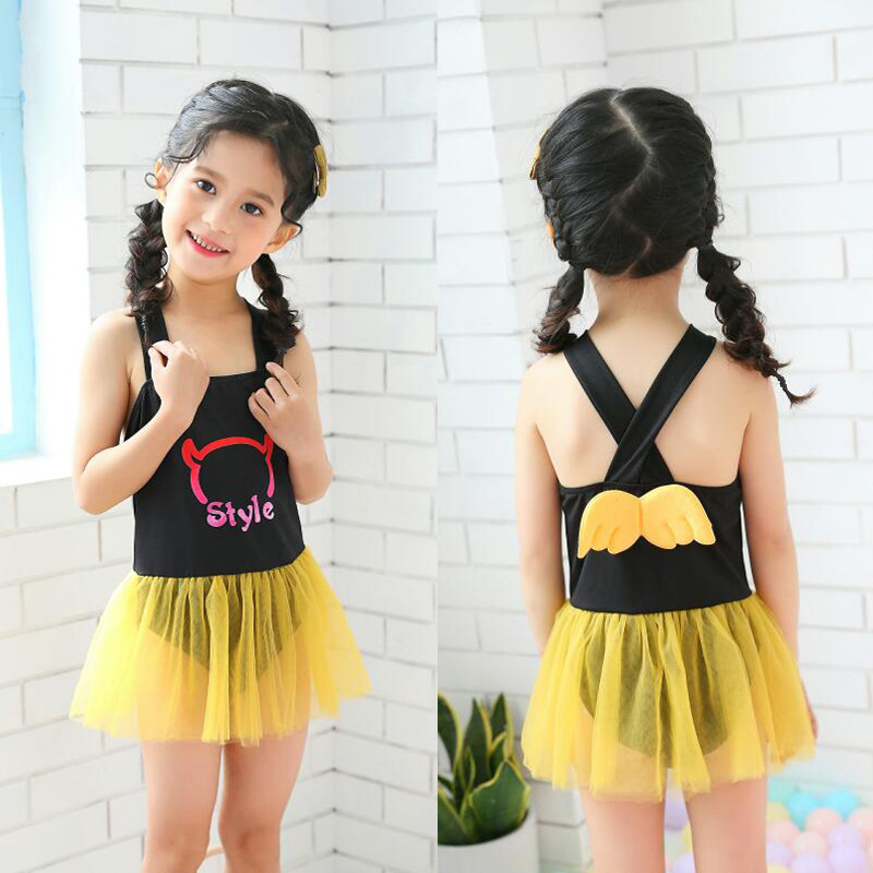Baby Girls Swimwear One-piece 3-6-Year-Old 2019 New Style Douyin Hot Selling Wing Cute Princess KID'S Swimwear