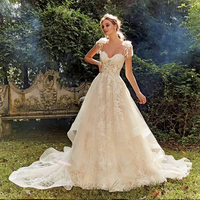 Shiny Lace A-Line Wedding Dress Vestidos De Bodas Sweetheart Neck Backless Illusion Bridal Gown Gelinlik 1