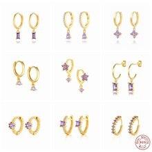 Boucles d'oreilles créoles en argent Sterling 2021 pour femmes, bijoux en Zircon violet romantique coréen pour femmes, Piercing Pendientes en cristal, tendance 925