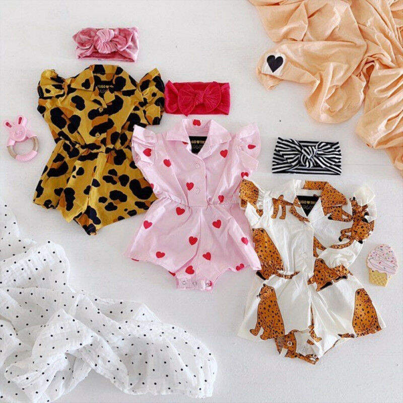 Newborn Baby Girl Summer Leopard Ruffle Blouse Romper Jumpsuit Outfit Clothes