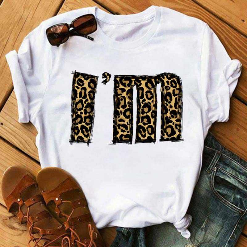 Maycaur Fashion T Shirt Vrouwen T-shirt Cartoon Leopard Bedrukte Shirts Streetwear Casual O-hals T-shirt Zomer Vrouwelijke Tee Tops