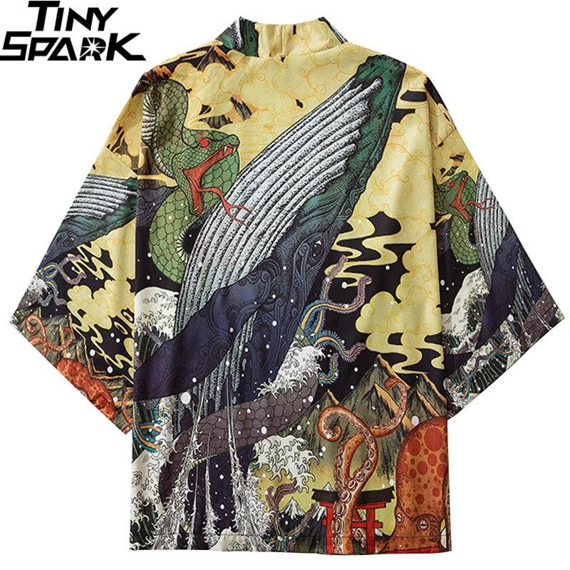 Japanese Kimono Jacket Fighting Snake Whale Harajuku 2020 Hip Hop Men Japan Streetwear Jacket Summer Thin Clothing Loose Kimono