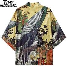 Kimono Jacket Clothing Harajuku Japanese Fighting Men Summer Hip-Hop Loose Snake-Whale