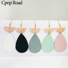 Cpop New Trendy Genuine Leather Water Drop Earrings Half Month Pink Acrylic Fashion Jewelry Women Accessories Gift 2019