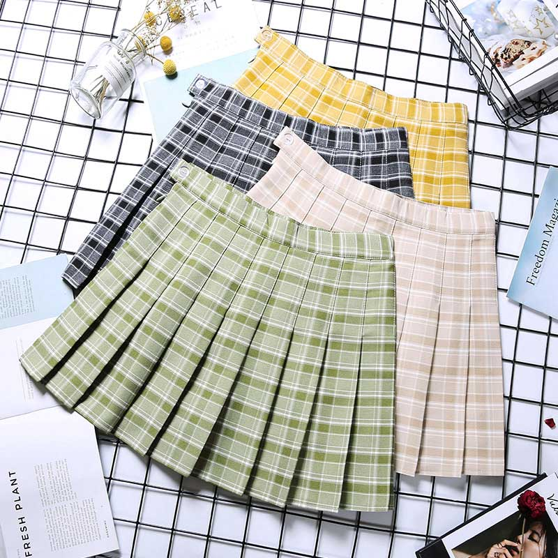 NiceMix Spring High Waist Ball Pleated Skirts Harajuku Denim Skirts Solid A-line Sailor Skirt Plus Size Japanese School Uniform
