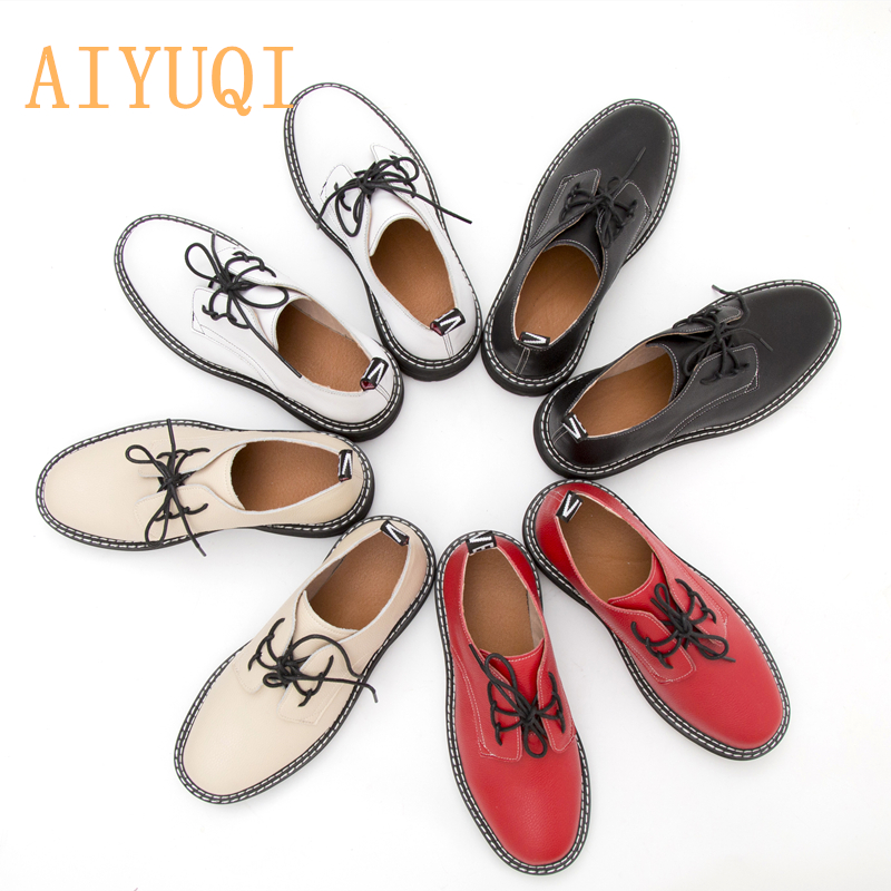AIYUQI Women Shoes 2021 New Spring British Style Student Martin shoes Large Size 41 42 43 Genuine Leather Ladies Oxford Shoes
