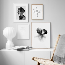 Casi beso línea abstracta arte corporal Vintage póster nórdico e impresiones arte de pared lienzo pintura cuadros de pared para decoración de sala de estar