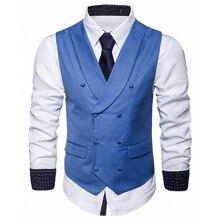 Формальные однотонные мужские нарядные жилеты двубортные свадебные Женихи смокинг жилет верхняя одежда для Бизнес работы