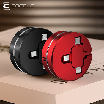 CAFELE Portable 3 in 1 Retractable Micro USB Cable for iphone 11 Pro Xs Samsung Huawei Xiaomi USB C Type Cable Data Sync