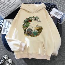 Totoro bluzy Studio Ghibli śliczne Anime śmieszne kreskówki kobiety Harajuku Ullzang Kawaii bluza z grafiką zimowa ciepła bluza z kapturem kobieta tanie tanio DAYUHU COTTON Poliester CN (pochodzenie) Zima REGULAR Pełna STANDARD Suknem studio ghibil sweatshirt 420g Swetry Cartoon