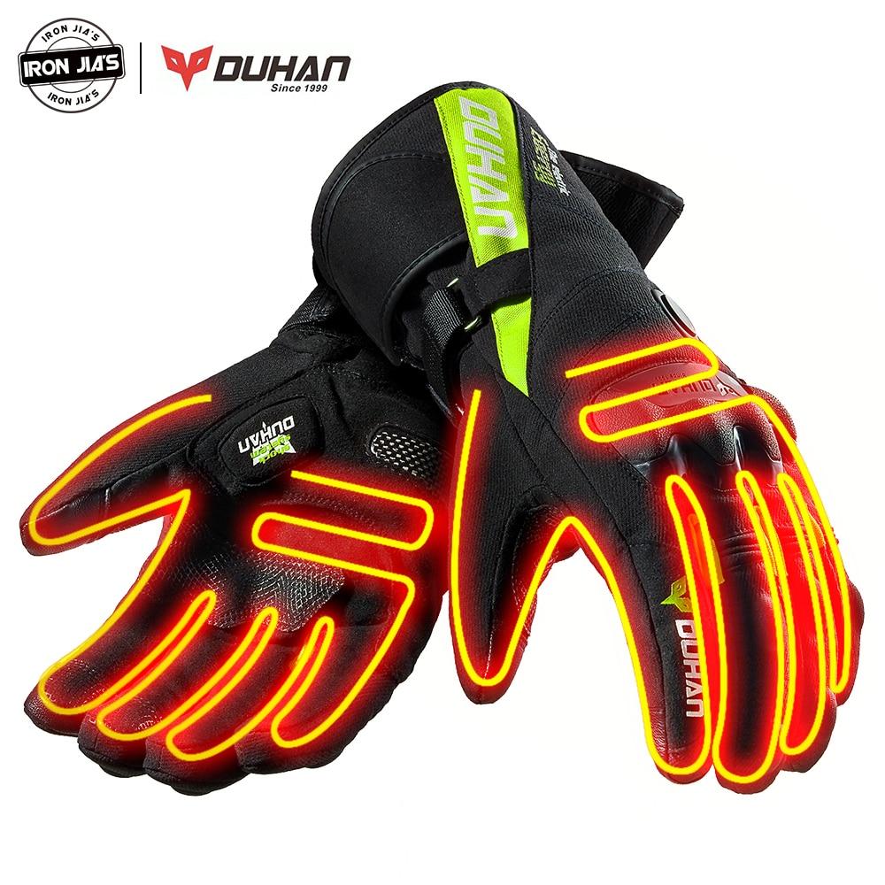 DUHAN Winter Heated Gloves Warm Waterproof Windproof Guantes Moto Gloves Motocicleta Motorbike Heating Thermal Motorcycle Gloves