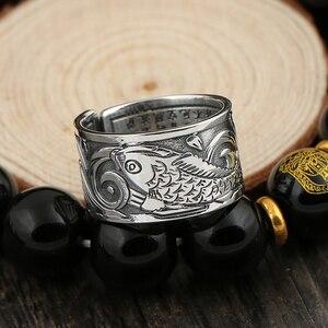 Image 5 - BALMORA bagues Vintage en argent 999, bijoux Vintage Koi à empiler, ouvert, cadeau spécial pour Couple, bijou bouddhiste Sutra, à la mode