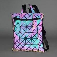 Diamante geométrico, 32*4*38cm, moda, multicor/luminoso mochila como armazenamento de computador unisex ou saco de viagem