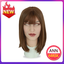 Roanyer silicone Ann mask latex sexy cosplay artificial realistic skin mask for crossdresser transgender male shemale Drag Queen цена