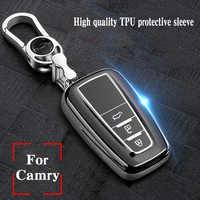 Hight quality TPU+ABS Car Key Cover Case for Toyota Camry Mark X RAV-4 PRADO COROLLA HIGHLANDER  2 3 Buttons Remote Keyless