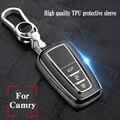 TPU высокого качества + ABS чехол для ключа автомобиля для Toyota Camry Mark X RAV-4 PRADO COROLLA HIGHLANDER 2 3 кнопки дистанционного ключа