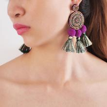 MANILAI Bohemia Pom Pom Beaded Tassel Earrings Statement Dangle Drop Earrings Big Pendientes Woman Jewelry