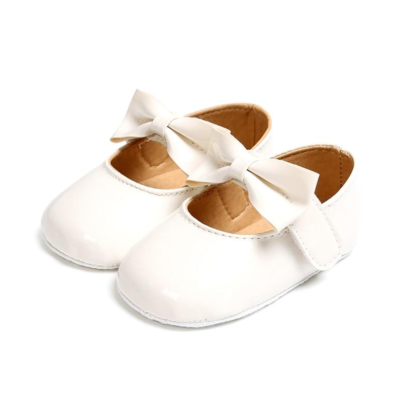 Toddler  Baby Shoes Bowknot  PUNewborn Girls Soft Soled Princess Crib Shoes Prewalker