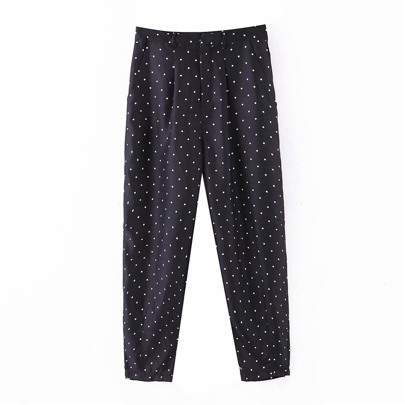 Elegant Black Polka Dot Print Pants Slim Fit Basic Female Casual Cozy Trousers Pantalones Mujer
