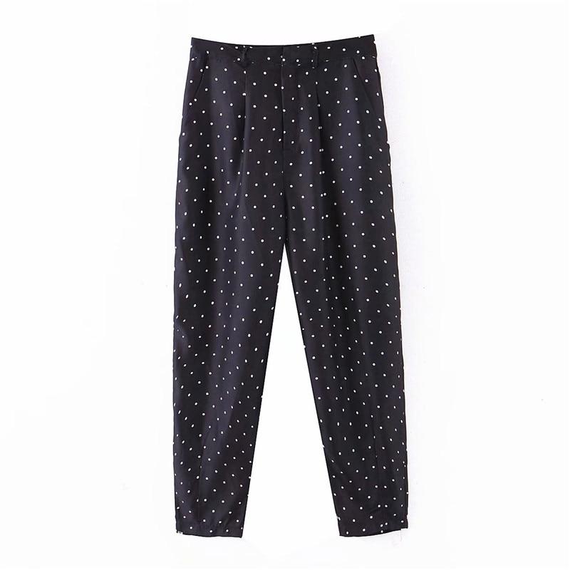 Elegant Black Polka Dot Print Pants Slim Fit Basic Female Casual Cozy Trousers Pantalones Mujer