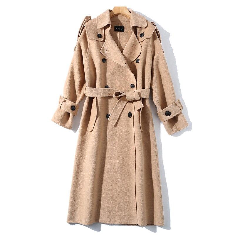 Abrigo de invierno de mujer estilo gabardina de camel de doble cara de lana de Cachemira prendas de vestir 2019 Otoño de talla grande abrigos para mujer largo envío gratis - 5