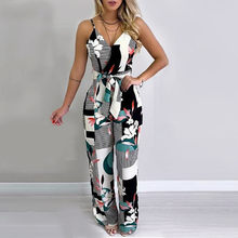 Women Jumsuits Summer Boho Floral Jumpsuit Long Trousers Pants Spaghetti Strap V Neck Backless Street Office Jumsuits W7(China)
