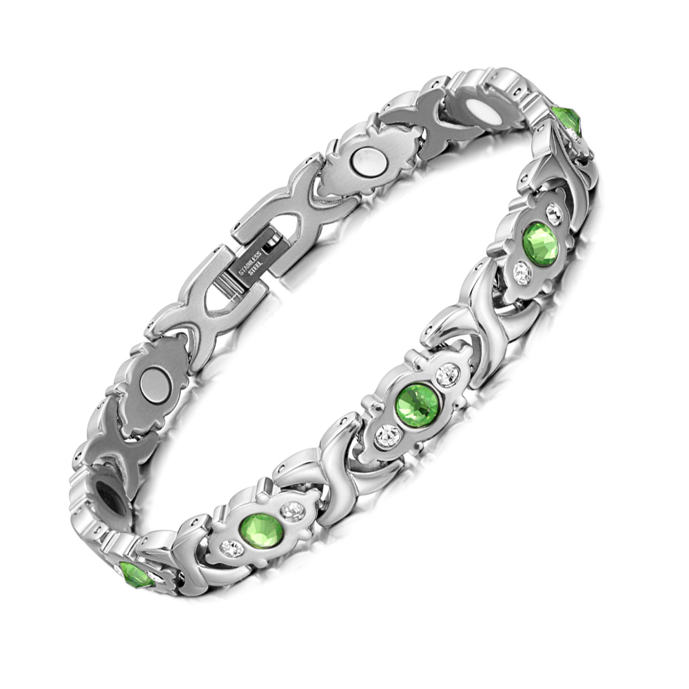 Image 2 - RainSo Stainless Steel Link Chain Charm Magnetic Germanium Far Infrared Bracelet For Women Fashion Femme Bangles JewelryChain & Link Bracelets   -