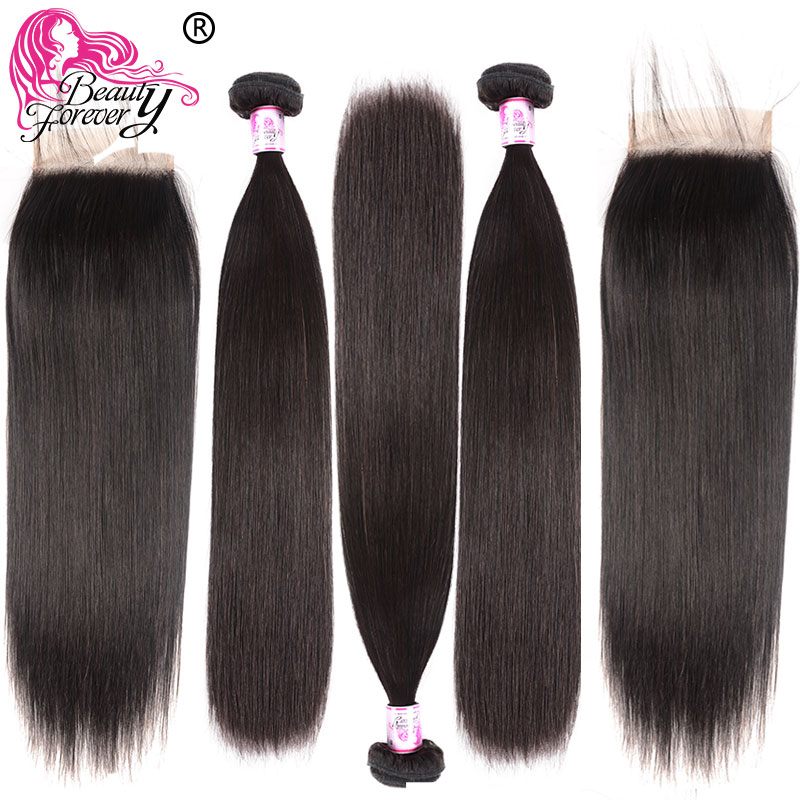 Beauty Forever Straight Malaysian Hair 3 Bundles With 2pcs Closures 4*4 Same Part Remy Human Hair Extension Bundle With Closure