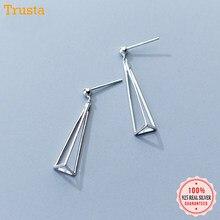 Trusta 100%-pendientes triangulares 3D de Joyería de plata de ley auténtica sólido para adolescentes, regalo de Navidad, DS1307, 925