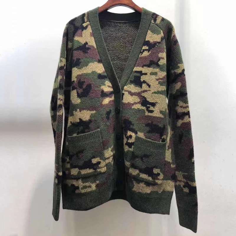 Women's Fashion Camouflage Cardigan Autumn V-neck Long Sleeve Casual Knitted Cardigan For Women