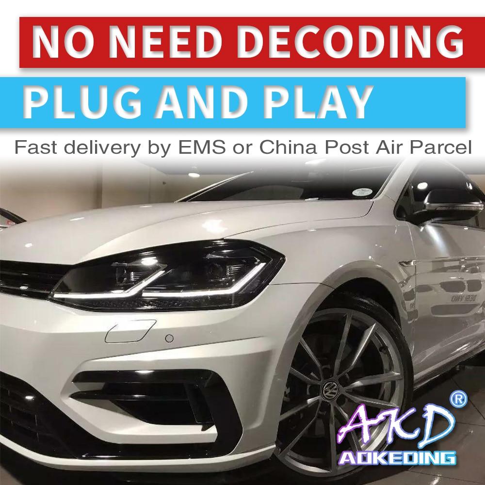 AKD Tuning Cars Headlight For VW Golk7.5 Golf 7.5 MK7.5 Golf7 Headlights LED DRL Running Lights Bi-Xenon Beam Fog Angel Eyes