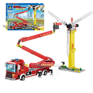Image 3 - City Fire Rescue Vehicle Forest Ladder Fire Truck Car Building Blocks Creator Firefighter Figures Playmobil Brinquedos Kids Toys