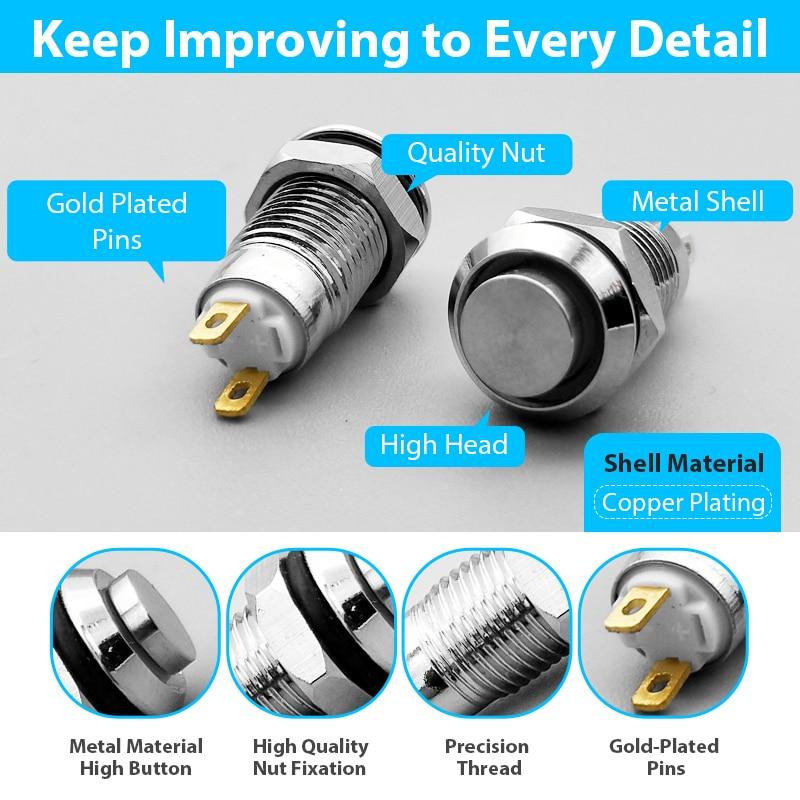 1pc 8mm Self-reset Momentary Self-locking Latching Metal Push Button Switch 2pins High Head 2v3v5v12v24v220v