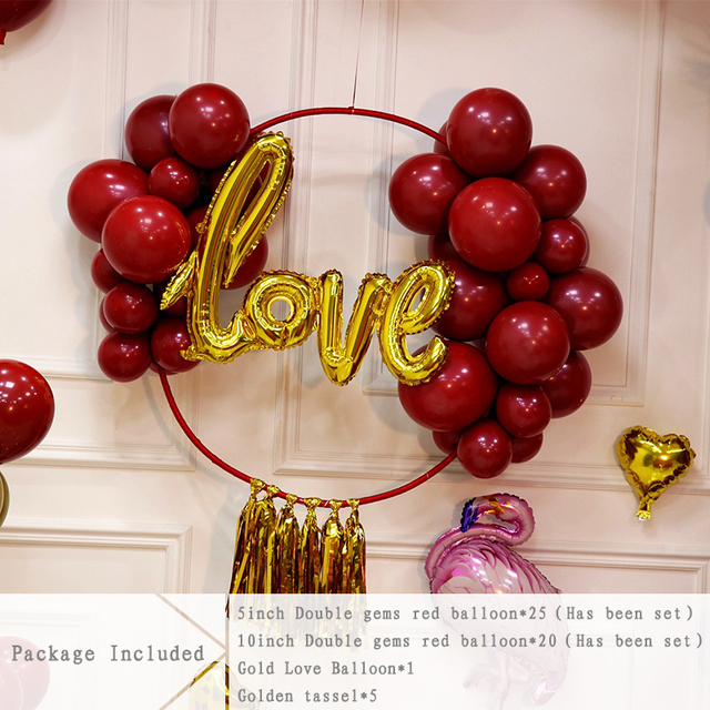 DIY Custom Rose Gold Love Foil Balloon Ring Hoop Circle Kit Silver Wine Red Balloon Flower Chain Wreath Garland Baby Shower Party Decor