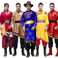 New Traditional Mongolian Costumes for Men Grassland National Genghis Khan Riding Dance Stage Performance Asia Adult Waer