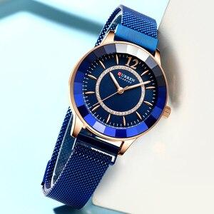 Image 4 - CURREN büyüleyici Rhinestone Quartz saat moda tasarım saatler kadınlar paslanmaz çelik şerit saat kadın lüks reloj mujer