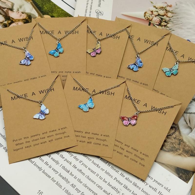 Женское ожерелье с подвеской-бабочкой, серебристого цвета