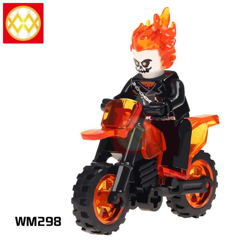 Ghost Rider With Motorcycle Avengers Super Heroes  Kids Gift Hobbies friend Building Blocks Toys For Children