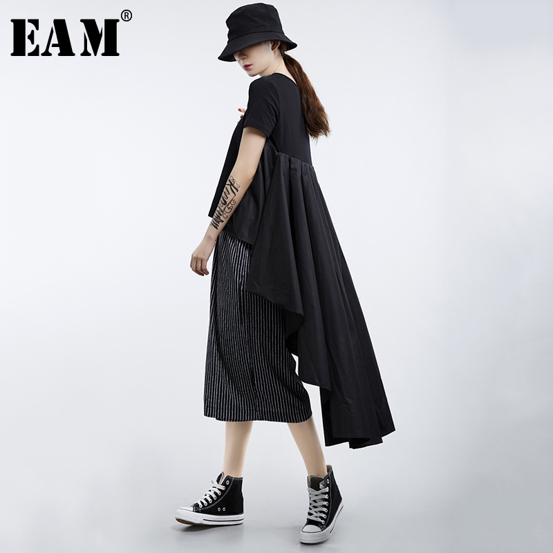 [EAM] 2020 New Spring Summer Round Neck Short Sleeve White Loose Pleated Irregular Hem T-shirt Women Fashion Tide JL867 1