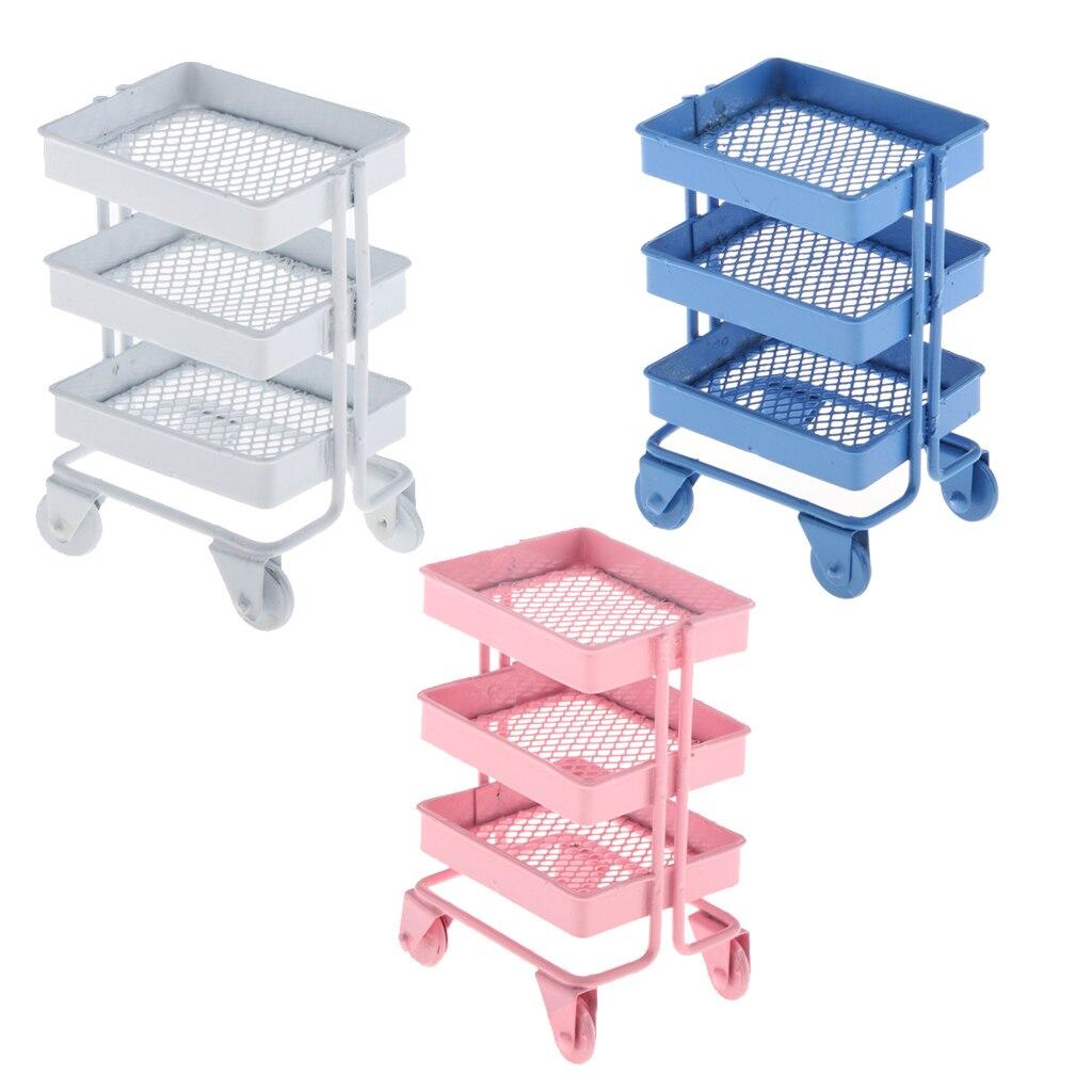 1:12 Scale Miniature Iron Storage Shelf Rack Dollhouse Room Decor Accs