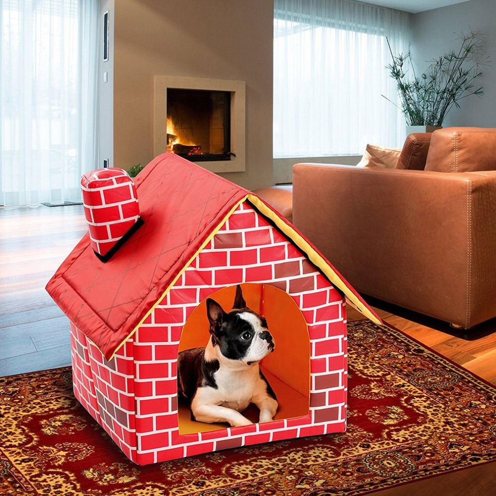 Portable Brick Pet House With Chimney Warm And Cozy Dog Cat Bed Detachable Washable Pet Tent Suitable For All Seasons Cushion 3