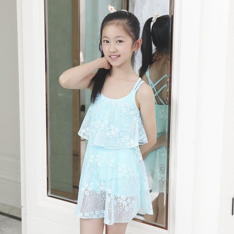 [KID'S Swimwear] GIRL'S Big Boy Cute Siamese Swimsuit Lace Boxer GIRL'S Swimsuit